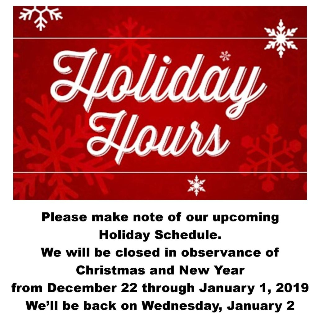 Holiday Hours 2018